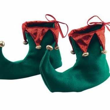 Carnavalskleding kerst schoenen groen rood helmond