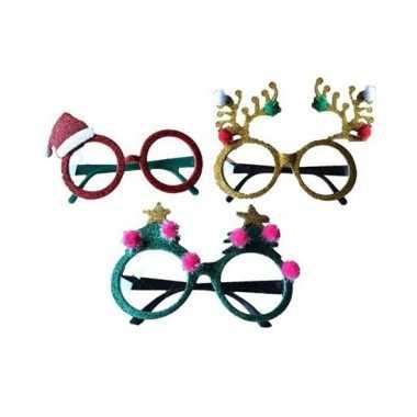 Carnavalskleding kerstaccessoires brillen/feestbrillen groen sterren helmond