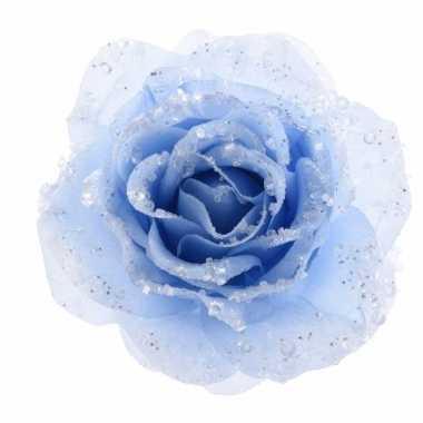 Carnavalskleding kerstroos blauwe kunstbloem helmond