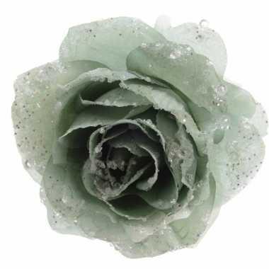 Carnavalskleding kerstroos groene kunstbloem helmond