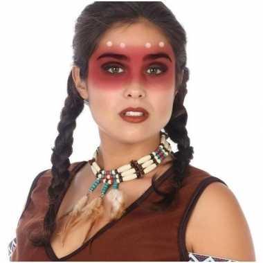 Carnavalskleding ketting indianen stijl kralen veren helmond