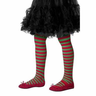 Carnavalskleding kinder panty rood groen gestreept one size helmond