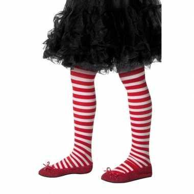 Carnavalskleding kinder panty rood wit gestreept one size helmond