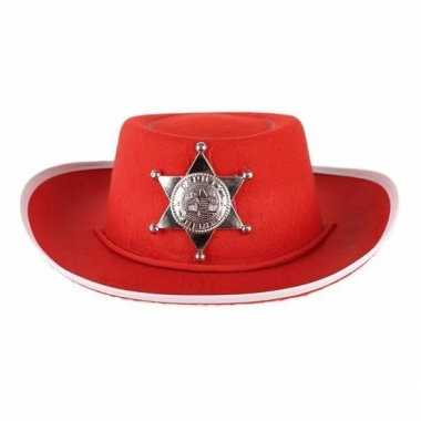 Carnavalskleding kinder sheriff hoed rood helmond