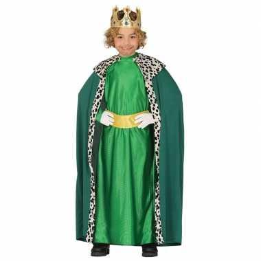 Carnavalskleding koning groen cape jongens helmond
