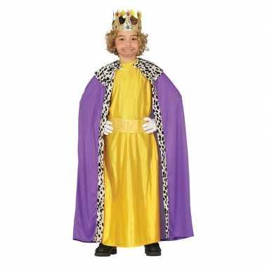 Carnavalskleding koning paars/geel cape jongens helmond