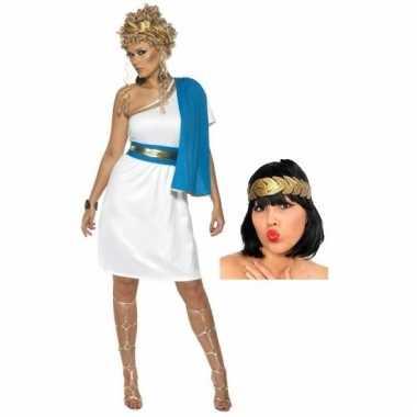 Carnavalskleding kort romeinse dames jurkje inclusief hoofdkrans maat