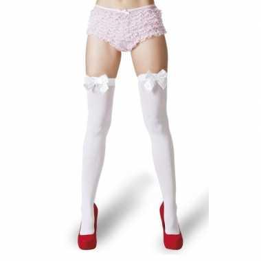 Carnavalskleding kousen wit strikjes dames helmond
