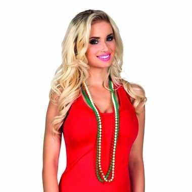 Carnavalskleding kralen ketting rood/wit/groen stuks volwassenen helm