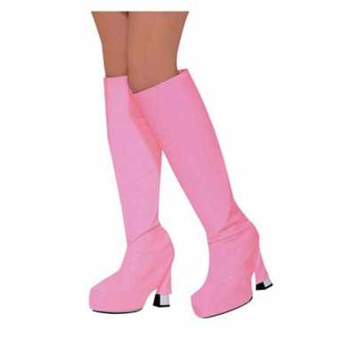 Carnavalskleding laars covers roze helmond