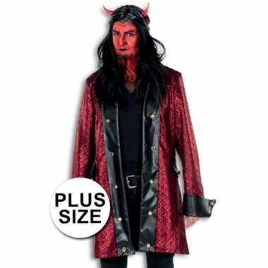 Carnavalskleding lange verkleed jas duivel grote maat helmond
