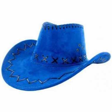 Carnavalskleding  Lederlook cowboyhoeden blauw volwassenen helmond
