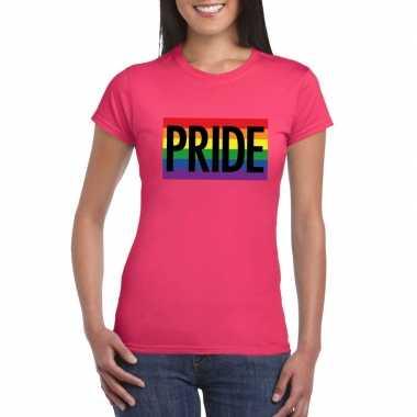 Carnavalskleding lesbo shirt pride regenboog vlag dames roze helmond