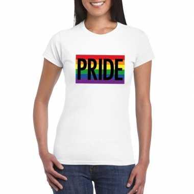 Carnavalskleding lesbo shirt pride regenboog vlag dames wit helmond