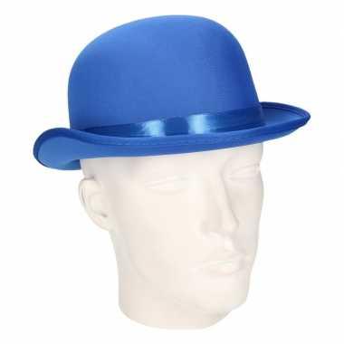 Carnavalskleding luxe blauwe feestbolhoed helmond