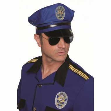 Carnavalskleding luxe blauwe politiepetten helmond