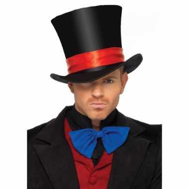 Carnavalskleding luxe hoge hoed zwart heren helmond