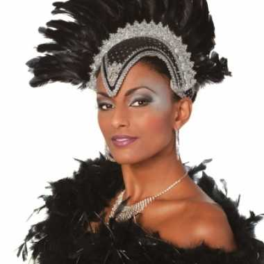 Carnavalskleding luxe hoofdtooi zwart dames helmond
