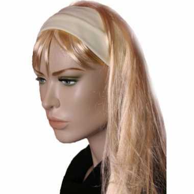 Carnavalskleding lycra haarband geel helmond