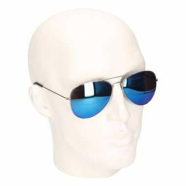 Carnavalskleding macho man bril blauw zilver helmond