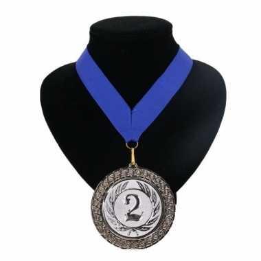 Carnavalskleding medaille nr. halslint blauw helmond