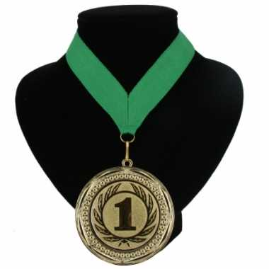 Carnavalskleding  Medaille nr. halslint groen helmond