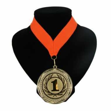 Carnavalskleding  Medaille nr. halslint oranje helmond