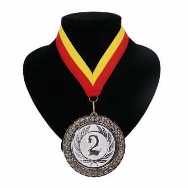 Carnavalskleding medaille nr. halslint rood geel helmond