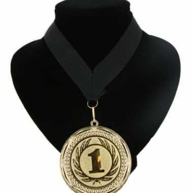 Carnavalskleding  Medaille nr. halslint zwart helmond