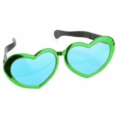 Carnavalskleding mega groene hartjes verkleed bril volwassenen helmon