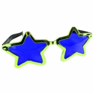 Carnavalskleding mega groene sterren verkleed bril volwassenen helmon