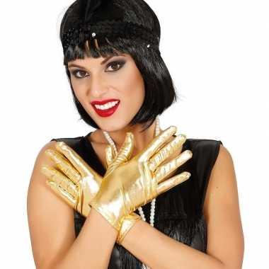 Carnavalskleding metallic gouden verkleed handschoenen kort helmond