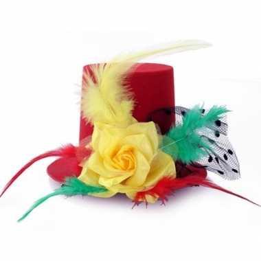 Carnavalskleding mini hoedje clip carnaval kleuren helmond