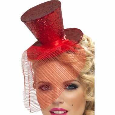 Carnavalskleding mini hoedje rood haarband helmond