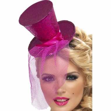 Carnavalskleding mini hoge hoed roze diadeem helmond