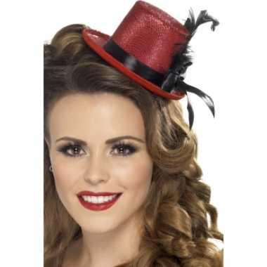 Carnavalskleding mini hoog hoedje rood helmond