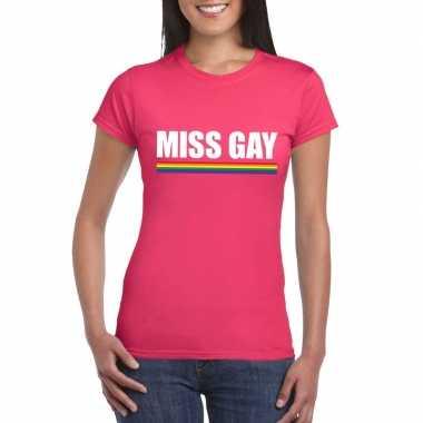 Carnavalskleding miss gay shirt roze regenboog vlag dames helmond