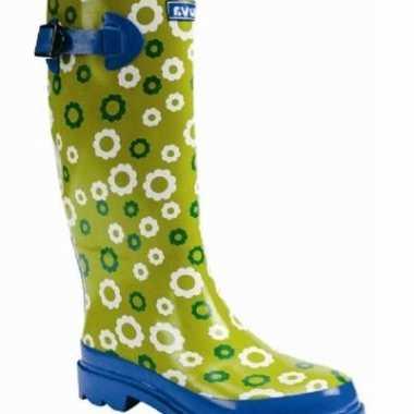 Carnavalskleding modieuse rubber laarzen groenblauw helmond