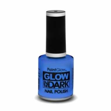 Carnavalskleding neon blauwe nagellak lichtgevend helmond