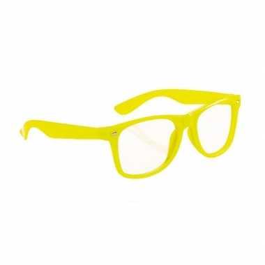 Carnavalskleding  Neon gele party bril volwassenen helmond