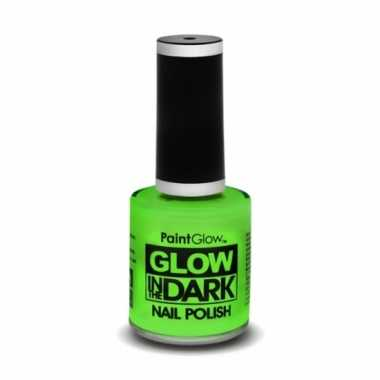Carnavalskleding neon groene nagellak lichtgevend helmond