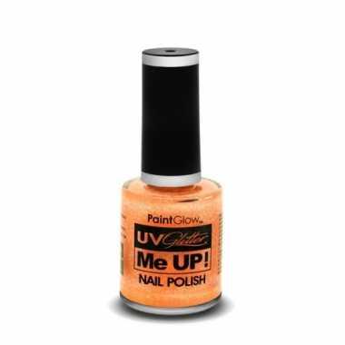 Carnavalskleding neon oranje glitter nagellak blacklight helmond