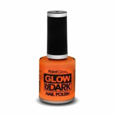 Carnavalskleding neon oranje nagellak lichtgevend helmond