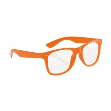 Carnavalskleding  Neon oranje party bril volwassenen helmond