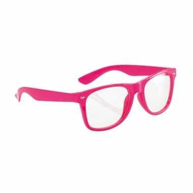 Carnavalskleding  Neon roze party bril volwassenen helmond