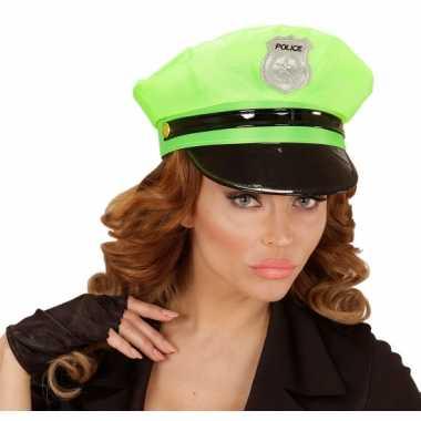 Carnavalskleding  Neongroene politie pet volwassenen helmond