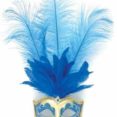 Carnavalskleding oog masker blauwe veren helmond