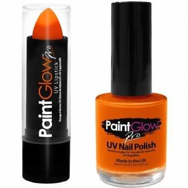 Carnavalskleding oplichtende/lichtgevende lipstick nagellak set neon