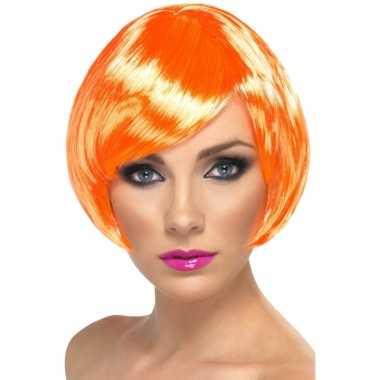 Carnavalskleding oranje dames pruik kort helmond