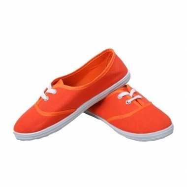 Carnavalskleding oranje fan ek/wk schoenen/sneakers meisjes/dames hel